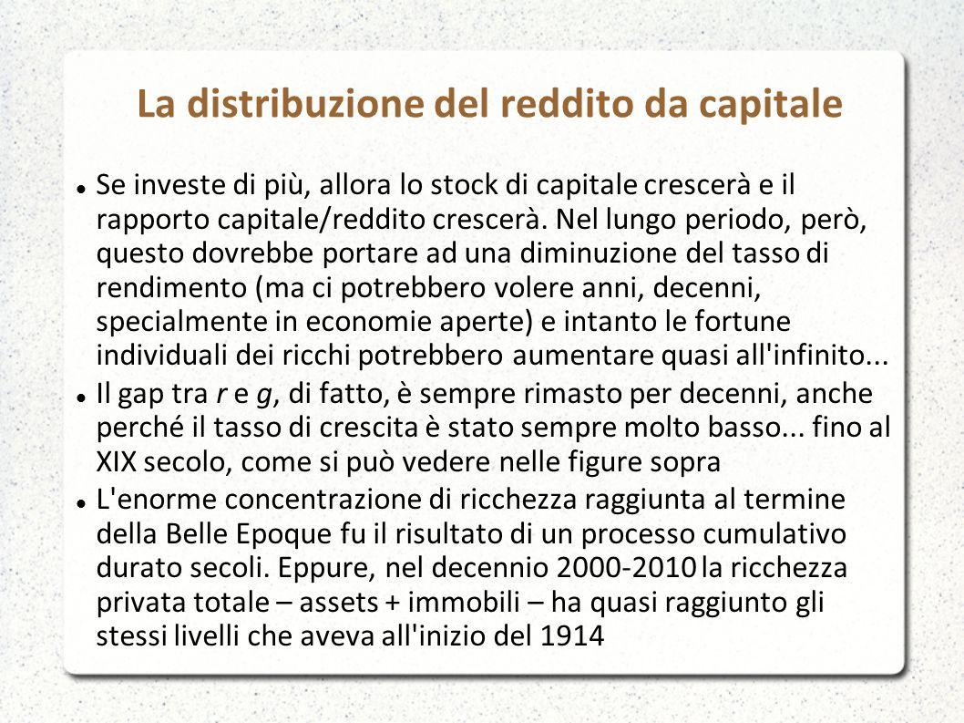La distribuzione del reddito da capitale Se investe di più, allora lo stock di capitale crescerà e il rapporto capitale/reddito crescerà. Nel lungo pe