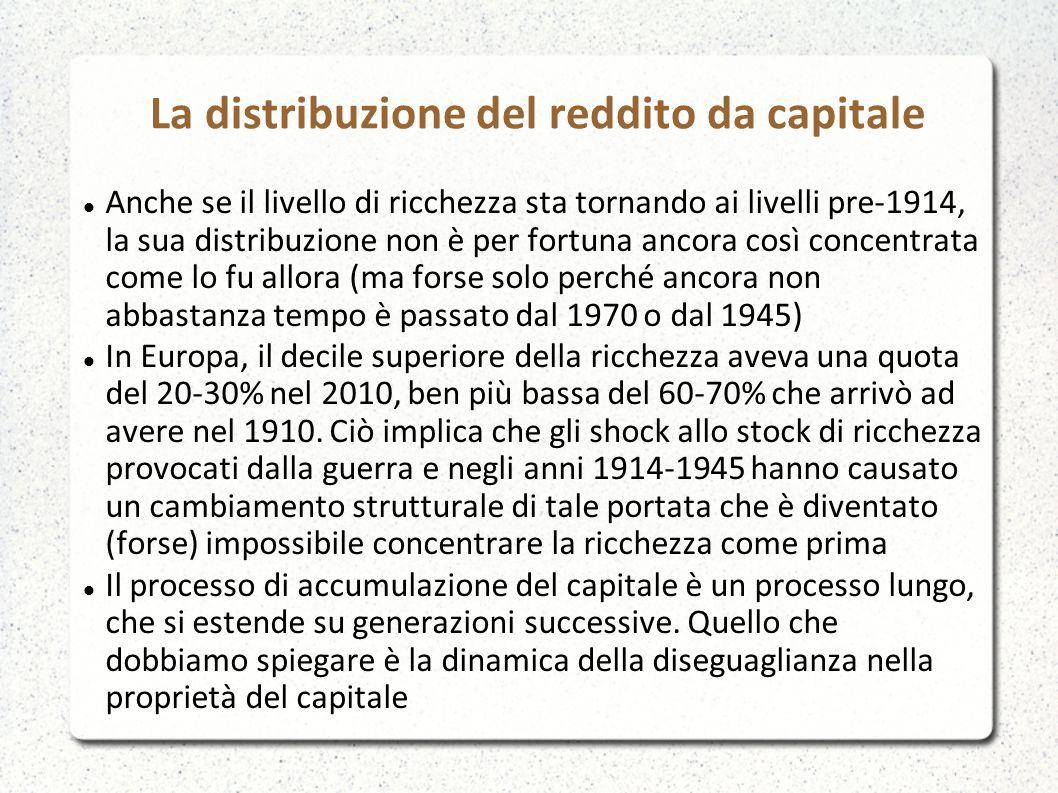La distribuzione del reddito da capitale Anche se il livello di ricchezza sta tornando ai livelli pre-1914, la sua distribuzione non è per fortuna anc