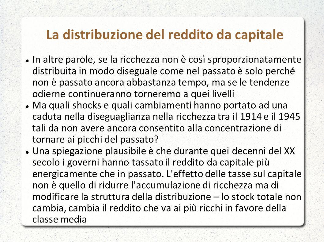 La distribuzione del reddito da capitale In altre parole, se la ricchezza non è così sproporzionatamente distribuita in modo diseguale come nel passat
