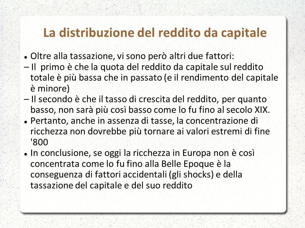 La distribuzione del reddito da capitale Oltre alla tassazione, vi sono però altri due fattori: – Il primo è che la quota del reddito da capitale sul