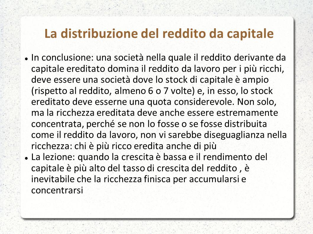 In conclusione: una società nella quale il reddito derivante da capitale ereditato domina il reddito da lavoro per i più ricchi, deve essere una socie