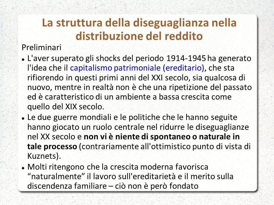 La struttura della diseguaglianza nella distribuzione del reddito Preliminari L'aver superato gli shocks del periodo 1914-1945 ha generato l'idea che