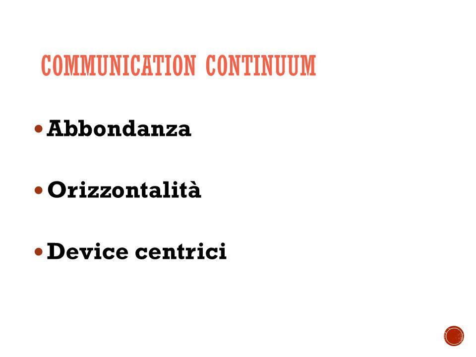 COMMUNICATION CONTINUUM Abbondanza Orizzontalità Device centrici