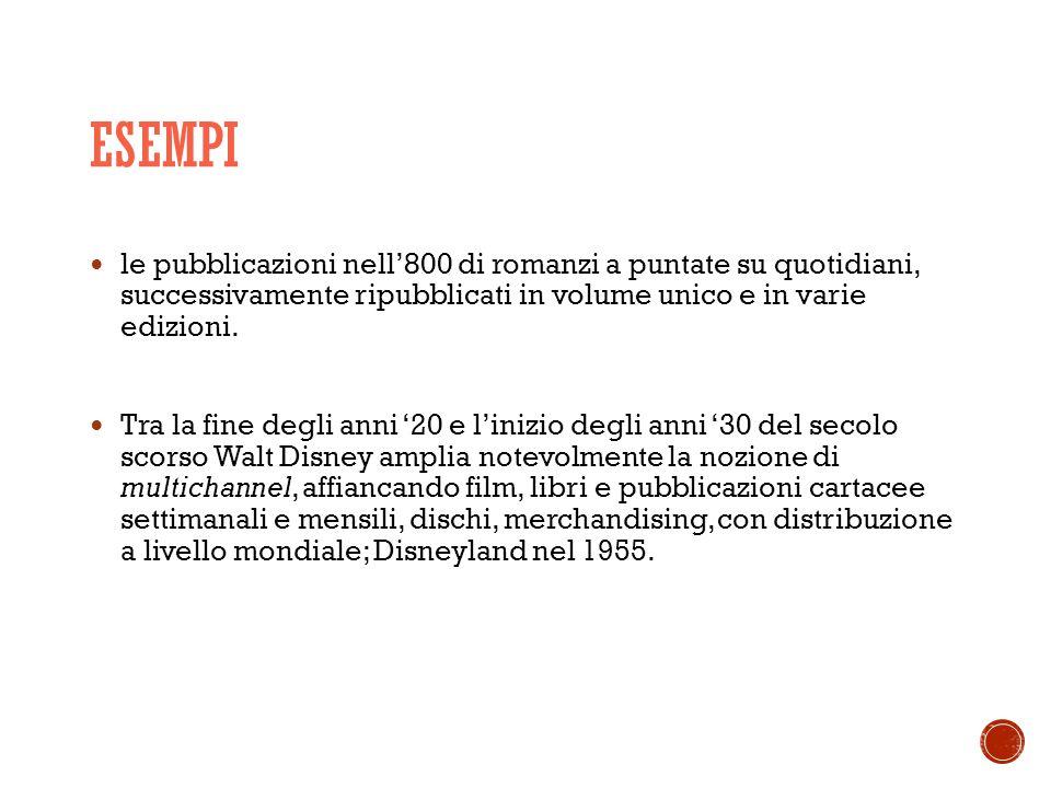 ESEMPI le pubblicazioni nell'800 di romanzi a puntate su quotidiani, successivamente ripubblicati in volume unico e in varie edizioni.