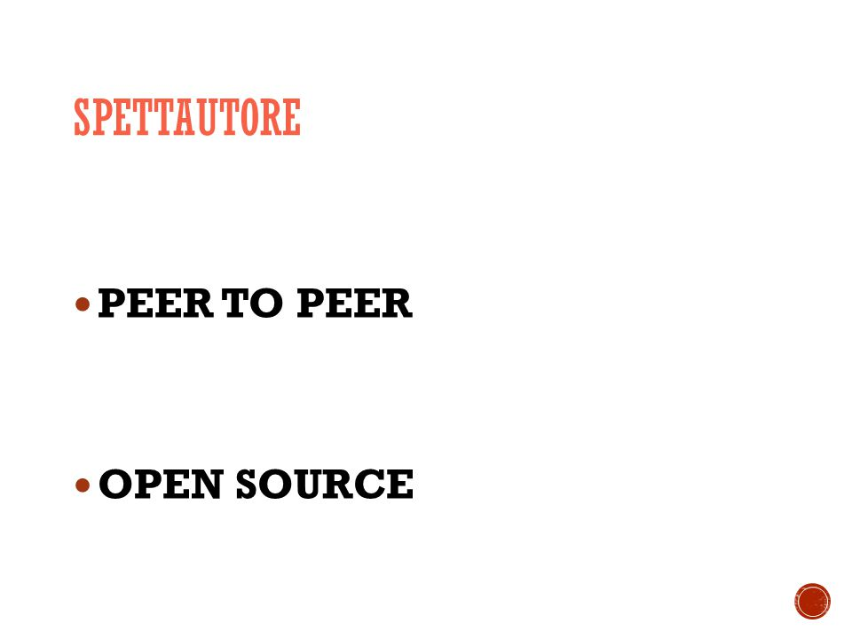 SPETTAUTORE PEER TO PEER OPEN SOURCE