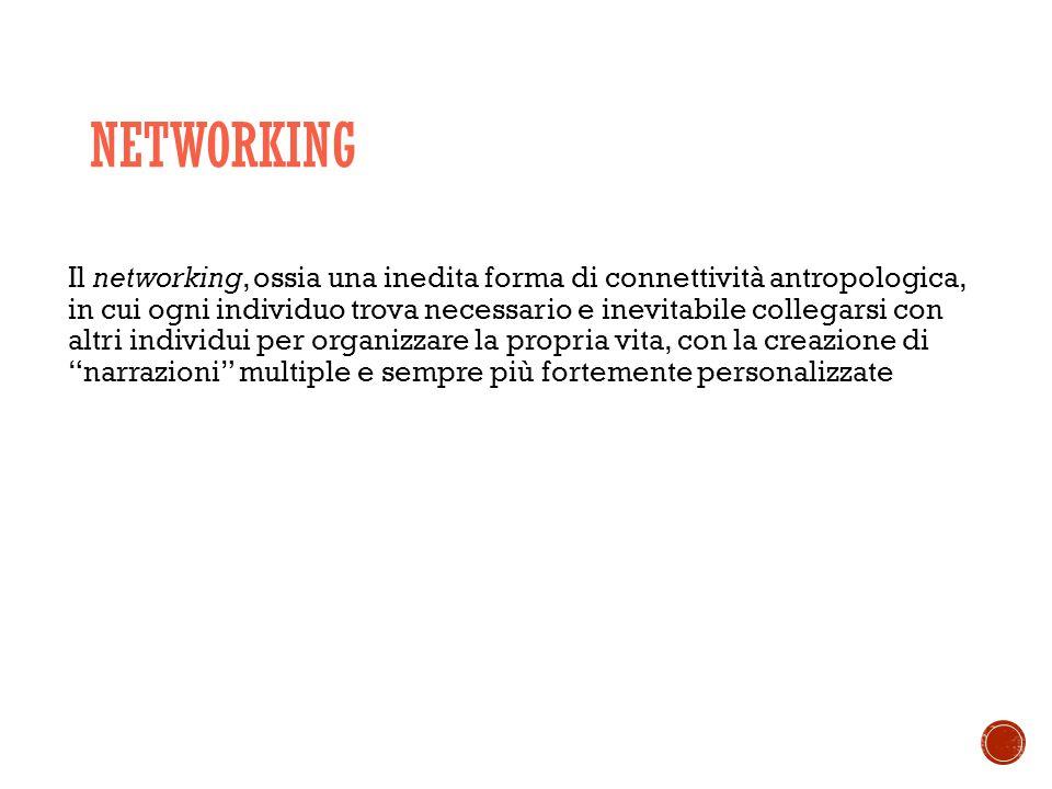 NETWORKING Il networking, ossia una inedita forma di connettività antropologica, in cui ogni individuo trova necessario e inevitabile collegarsi con altri individui per organizzare la propria vita, con la creazione di narrazioni multiple e sempre più fortemente personalizzate