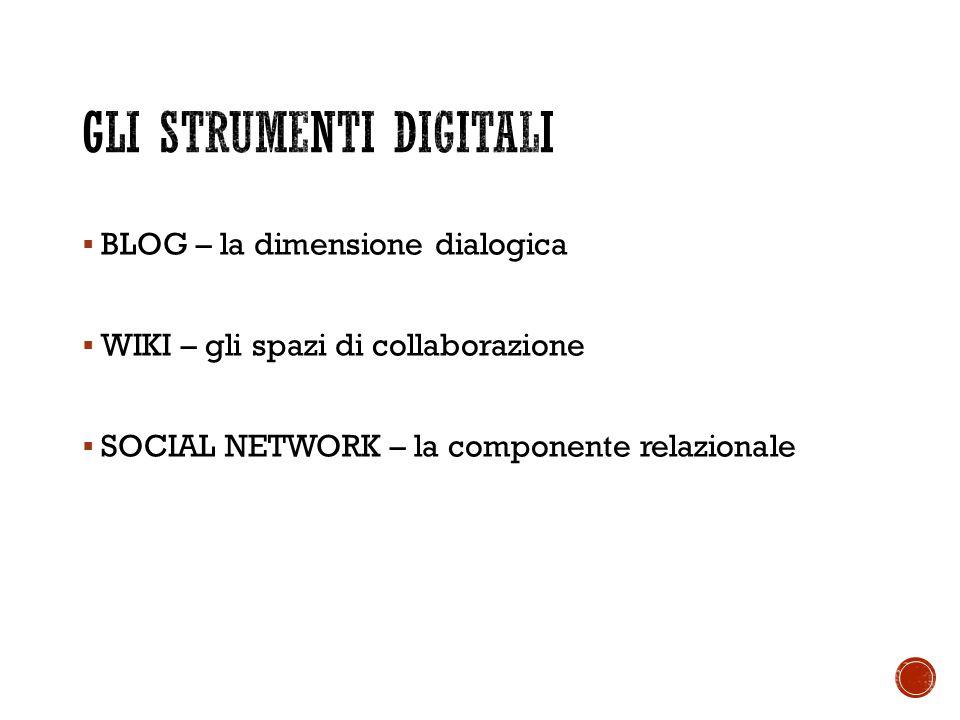  BLOG – la dimensione dialogica  WIKI – gli spazi di collaborazione  SOCIAL NETWORK – la componente relazionale