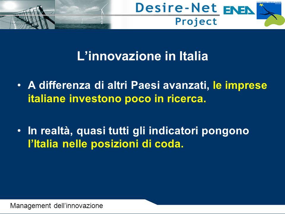 L'innovazione in Italia A differenza di altri Paesi avanzati, le imprese italiane investono poco in ricerca. In realtà, quasi tutti gli indicatori pon