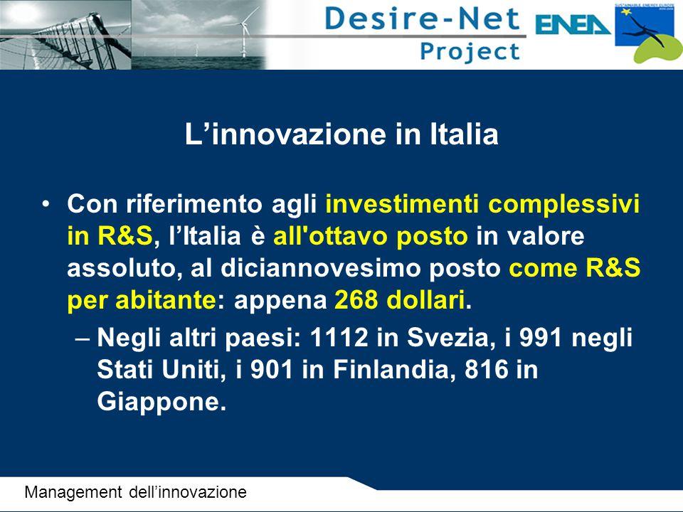 L'innovazione in Italia Con riferimento agli investimenti complessivi in R&S, l'Italia è all'ottavo posto in valore assoluto, al diciannovesimo posto