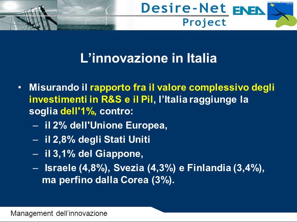 L'innovazione in Italia Misurando il rapporto fra il valore complessivo degli investimenti in R&S e il Pil, l'Italia raggiunge la soglia dell'1%, cont