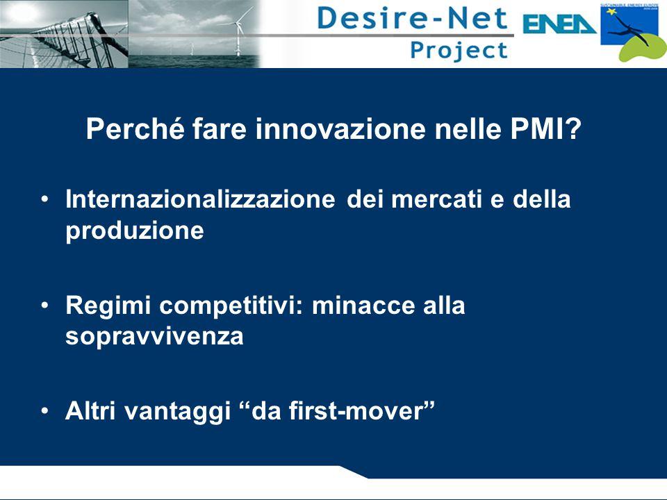 Perché fare innovazione nelle PMI? Internazionalizzazione dei mercati e della produzione Regimi competitivi: minacce alla sopravvivenza Altri vantaggi