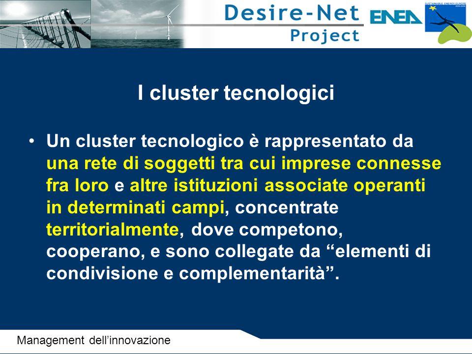 I cluster tecnologici Un cluster tecnologico è rappresentato da una rete di soggetti tra cui imprese connesse fra loro e altre istituzioni associate o