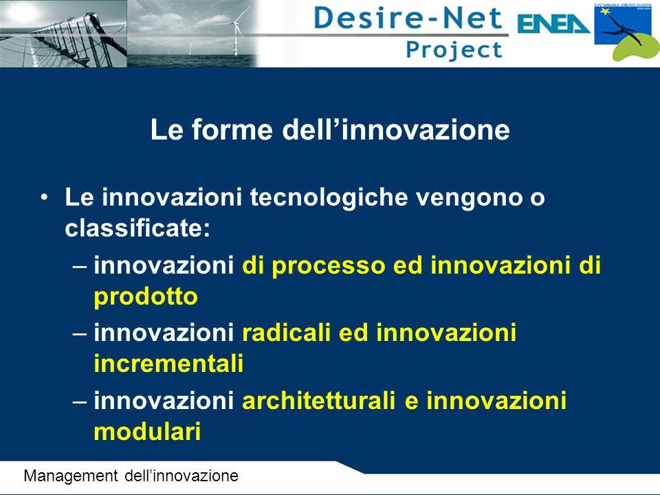Le forme dell'innovazione Le innovazioni tecnologiche vengono o classificate: –innovazioni di processo ed innovazioni di prodotto –innovazioni radical
