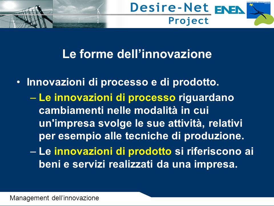 Le forme dell'innovazione Innovazioni di processo e di prodotto. –Le innovazioni di processo riguardano cambiamenti nelle modalità in cui un'impresa s