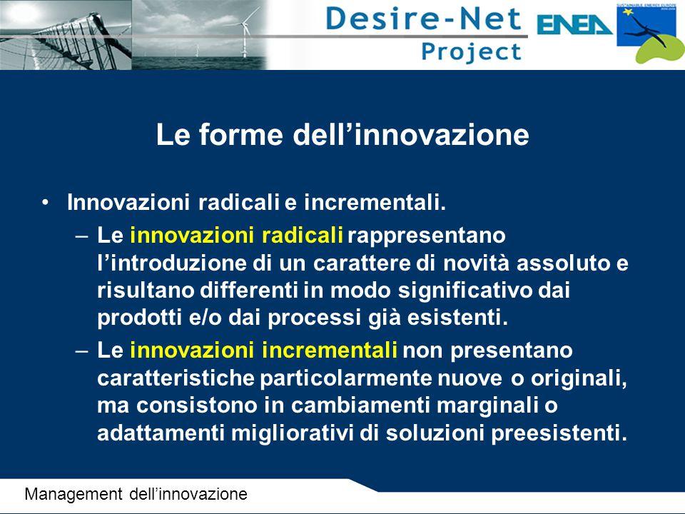 Le forme dell'innovazione Innovazioni radicali e incrementali. –Le innovazioni radicali rappresentano l'introduzione di un carattere di novità assolut
