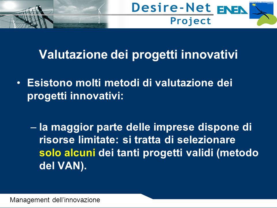 Valutazione dei progetti innovativi Esistono molti metodi di valutazione dei progetti innovativi: –la maggior parte delle imprese dispone di risorse l