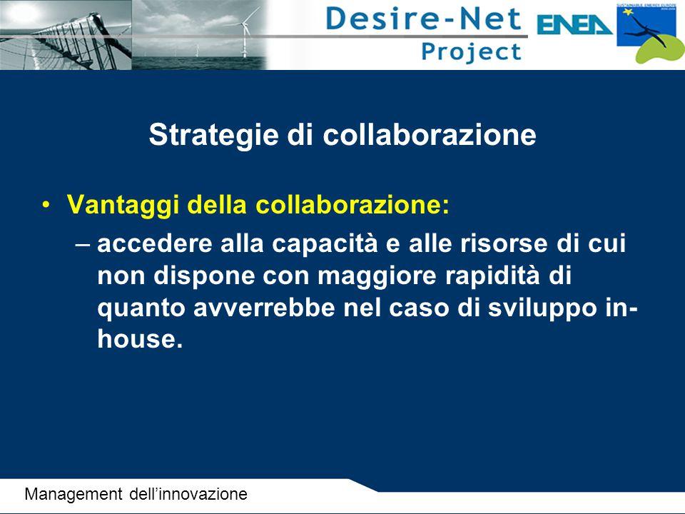 Strategie di collaborazione Vantaggi della collaborazione: –accedere alla capacità e alle risorse di cui non dispone con maggiore rapidità di quanto a