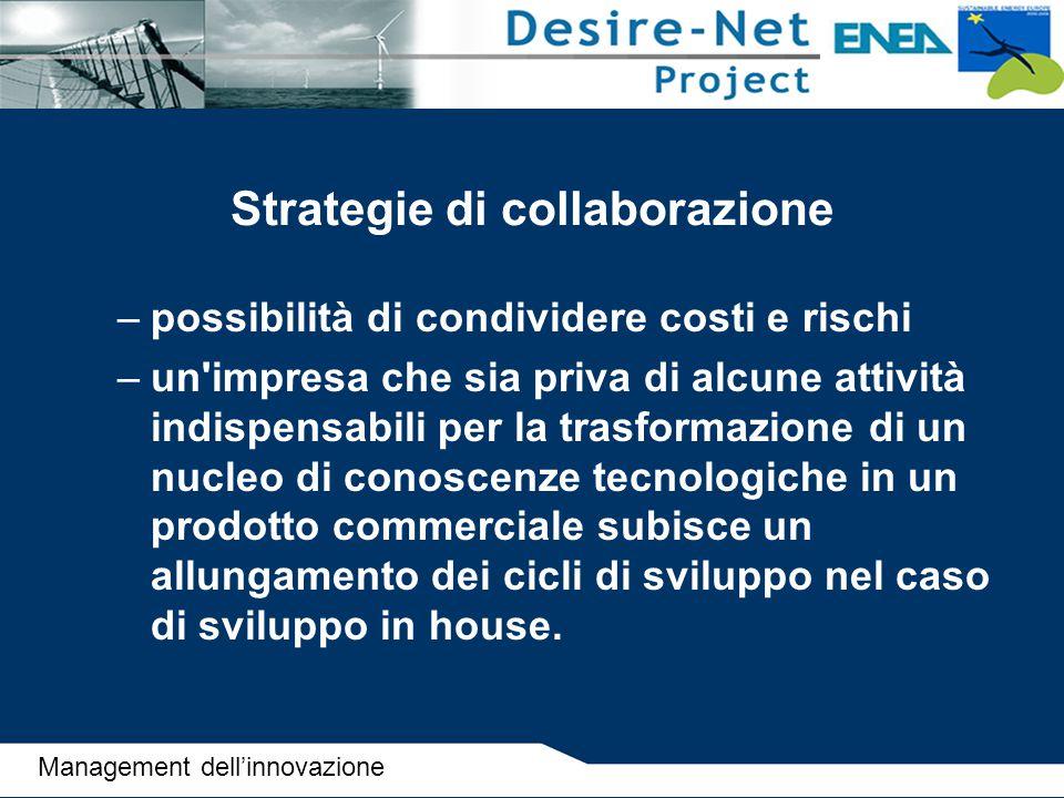 Strategie di collaborazione –possibilità di condividere costi e rischi –un'impresa che sia priva di alcune attività indispensabili per la trasformazio
