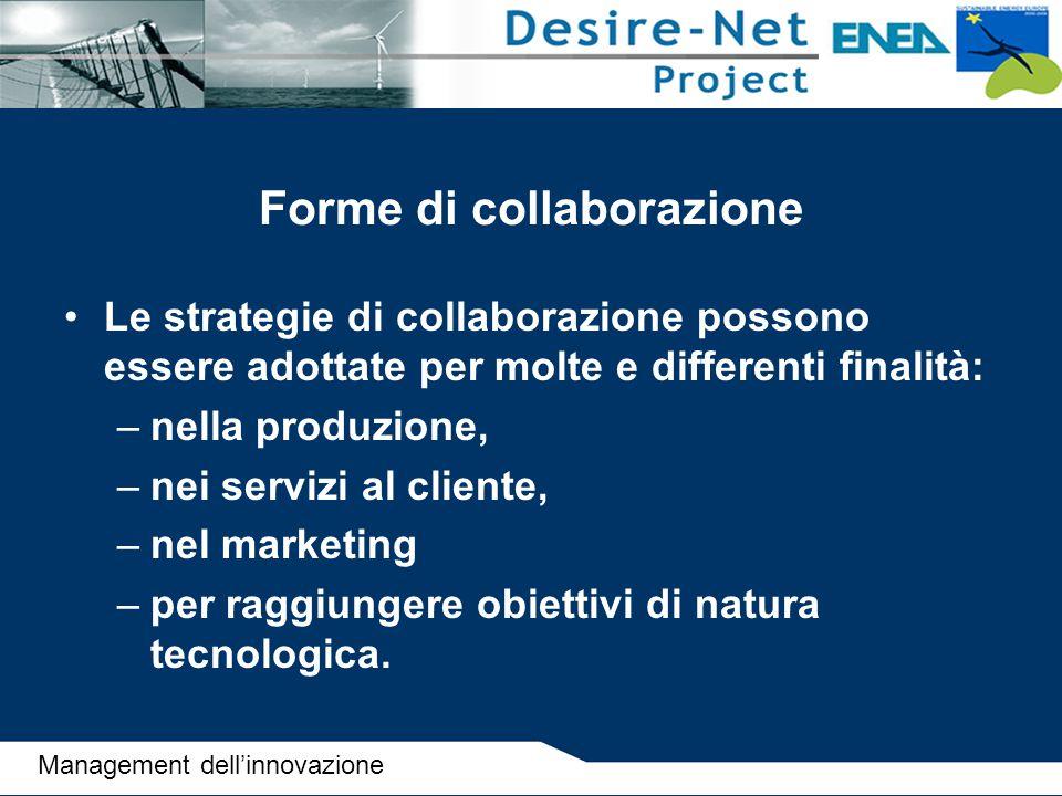 Forme di collaborazione Le strategie di collaborazione possono essere adottate per molte e differenti finalità: –nella produzione, –nei servizi al cli