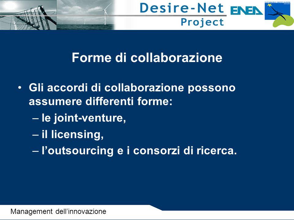 Forme di collaborazione Gli accordi di collaborazione possono assumere differenti forme: –le joint-venture, –il licensing, –l'outsourcing e i consorzi