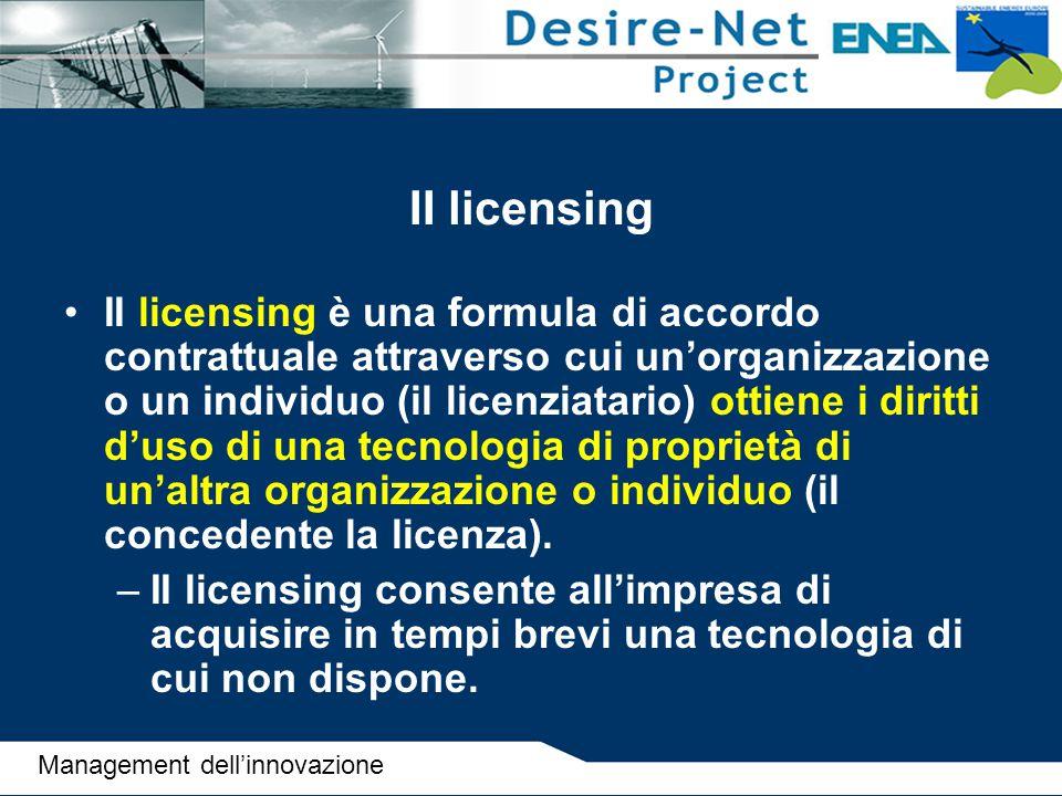 II licensing II licensing è una formula di accordo contrattuale attraverso cui un'organizzazione o un individuo (il licenziatario) ottiene i diritti d