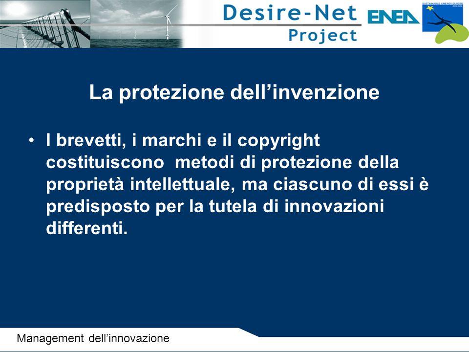 La protezione dell'invenzione I brevetti, i marchi e il copyright costituiscono metodi di protezione della proprietà intellettuale, ma ciascuno di ess