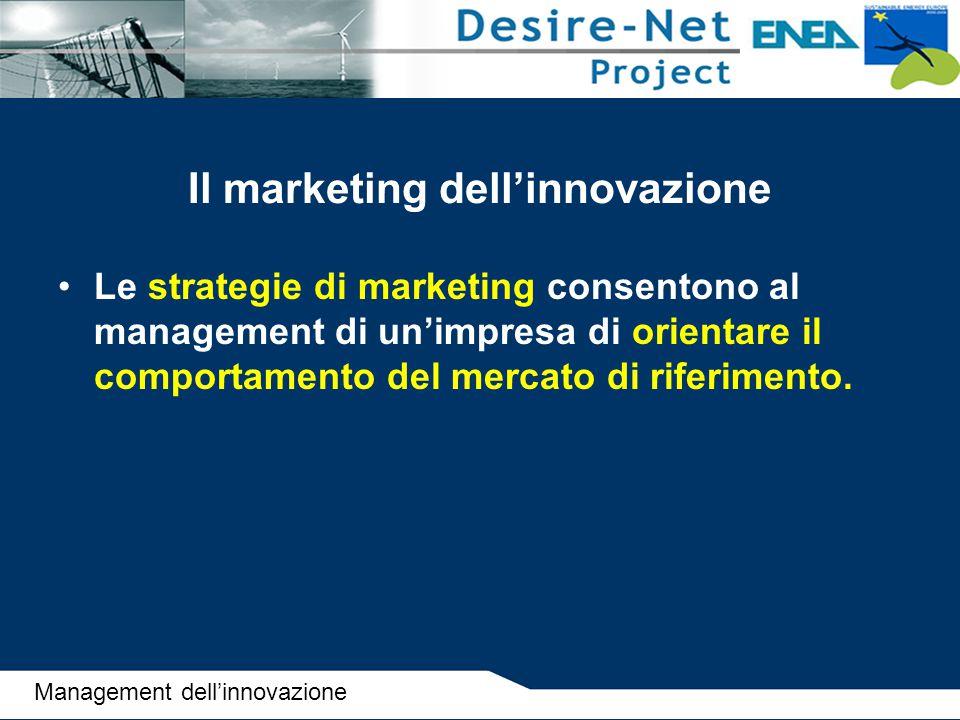 Il marketing dell'innovazione Le strategie di marketing consentono al management di un'impresa di orientare il comportamento del mercato di riferiment