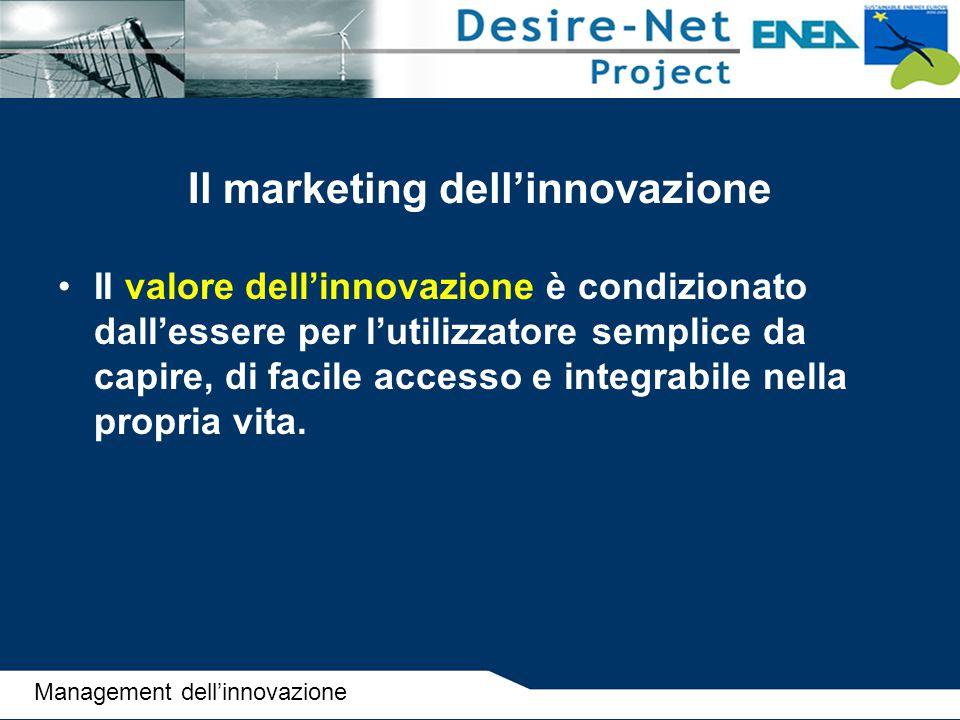 Il marketing dell'innovazione II valore dell'innovazione è condizionato dall'essere per l'utilizzatore semplice da capire, di facile accesso e integra