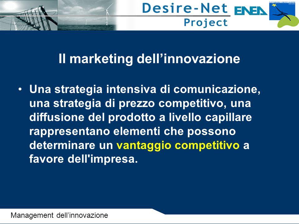 Il marketing dell'innovazione Una strategia intensiva di comunicazione, una strategia di prezzo competitivo, una diffusione del prodotto a livello cap