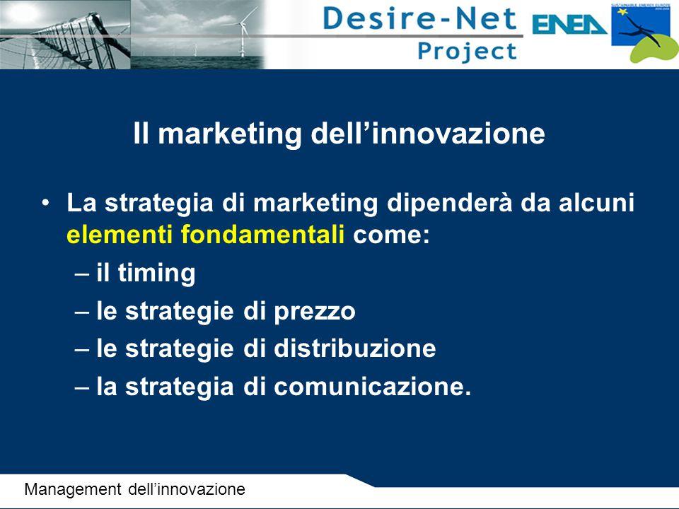 Il marketing dell'innovazione La strategia di marketing dipenderà da alcuni elementi fondamentali come: –il timing –le strategie di prezzo –le strateg