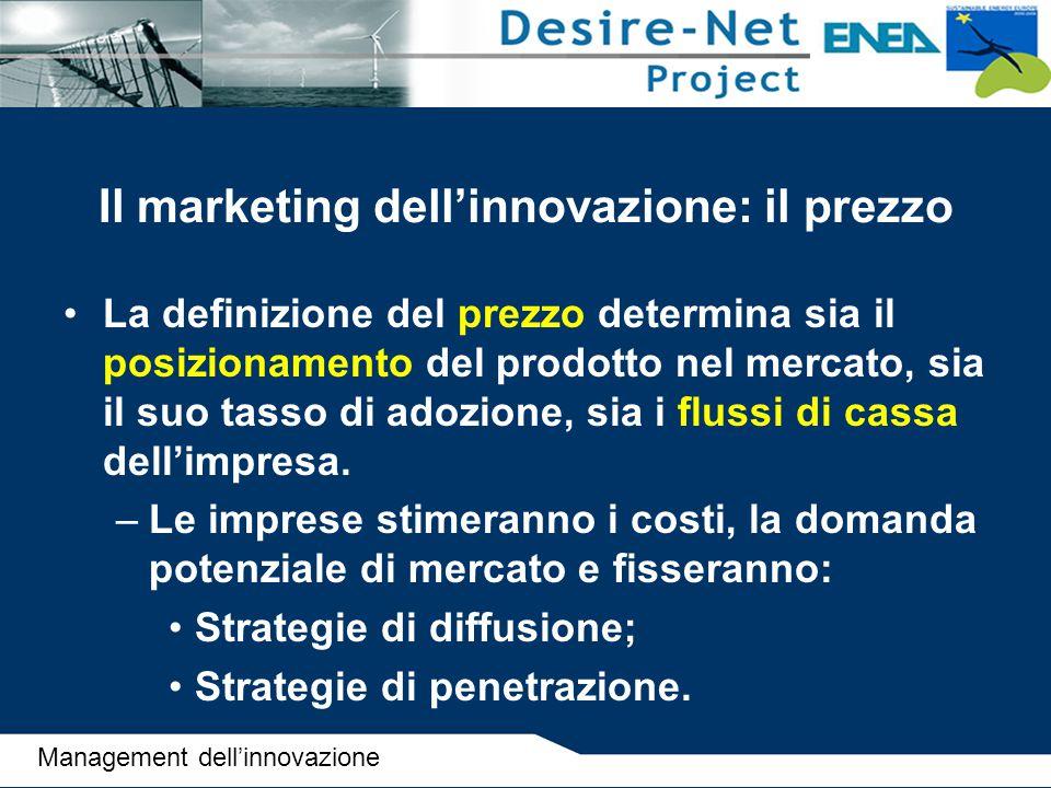 Il marketing dell'innovazione: il prezzo La definizione del prezzo determina sia il posizionamento del prodotto nel mercato, sia il suo tasso di adozi
