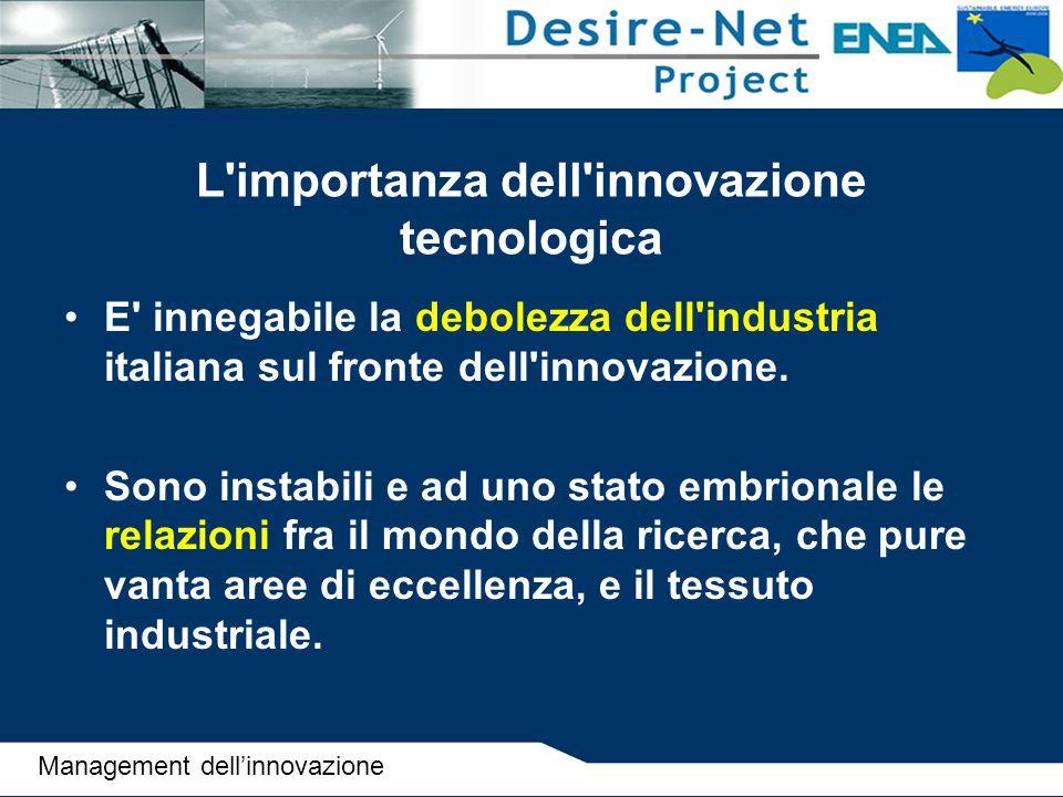 L'importanza dell'innovazione tecnologica E' innegabile la debolezza dell'industria italiana sul fronte dell'innovazione. Sono instabili e ad uno stat