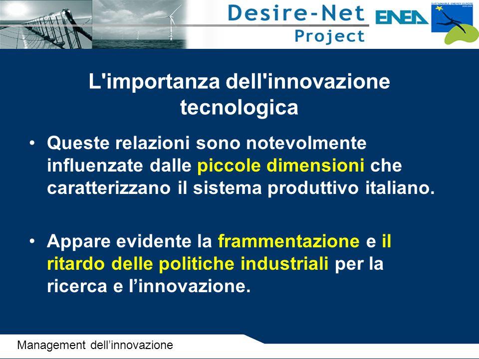 L'importanza dell'innovazione tecnologica Queste relazioni sono notevolmente influenzate dalle piccole dimensioni che caratterizzano il sistema produt