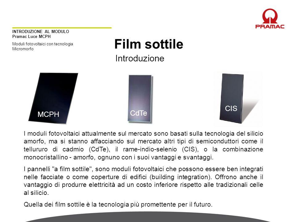 INTRODUZIONE AL MODULO Pramac Luce MCPH Moduli fotovoltaici con tecnologia Micromorfo Film sottile Introduzione MCPH CdTe CIS I moduli fotovoltaici at