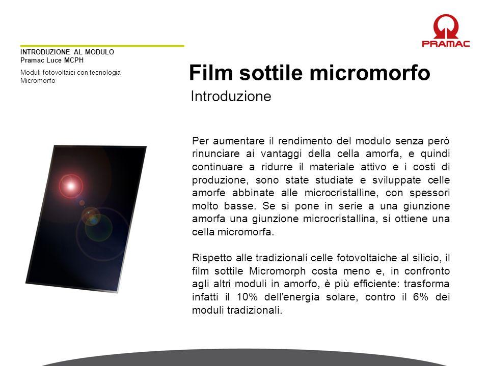 INTRODUZIONE AL MODULO Pramac Luce MCPH Moduli fotovoltaici con tecnologia Micromorfo Film sottile micromorfo Introduzione Per aumentare il rendimento