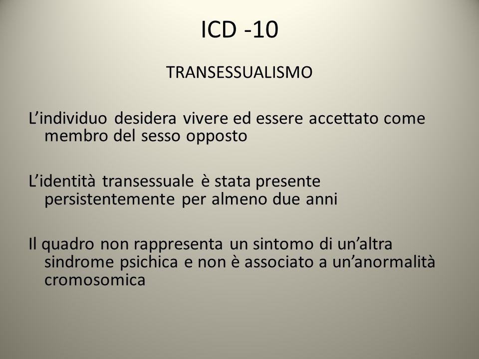 ICD -10 TRANSESSUALISMO L'individuo desidera vivere ed essere accettato come membro del sesso opposto L'identità transessuale è stata presente persist