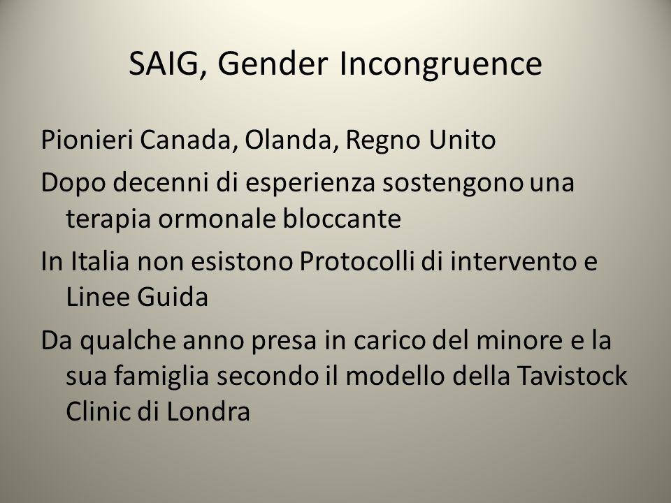 SAIG, Gender Incongruence Pionieri Canada, Olanda, Regno Unito Dopo decenni di esperienza sostengono una terapia ormonale bloccante In Italia non esis