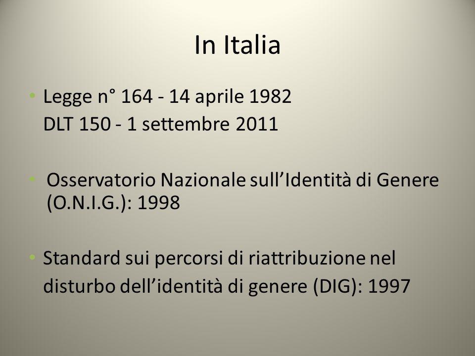 In Italia Legge n° 164 - 14 aprile 1982 DLT 150 - 1 settembre 2011 Osservatorio Nazionale sull'Identità di Genere (O.N.I.G.): 1998 Standard sui percor