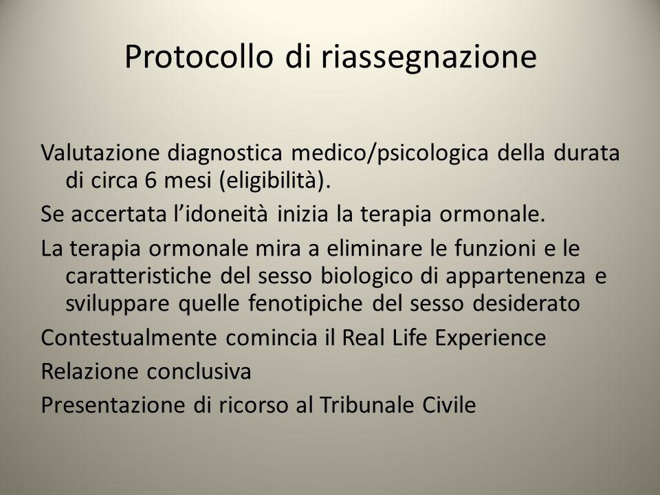 Protocollo di riassegnazione Valutazione diagnostica medico/psicologica della durata di circa 6 mesi (eligibilità). Se accertata l'idoneità inizia la