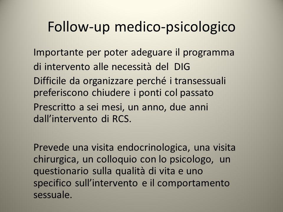 Follow-up medico-psicologico Importante per poter adeguare il programma di intervento alle necessità del DIG Difficile da organizzare perché i transes