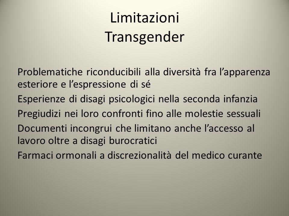 Limitazioni Transgender Problematiche riconducibili alla diversità fra l'apparenza esteriore e l'espressione di sé Esperienze di disagi psicologici ne