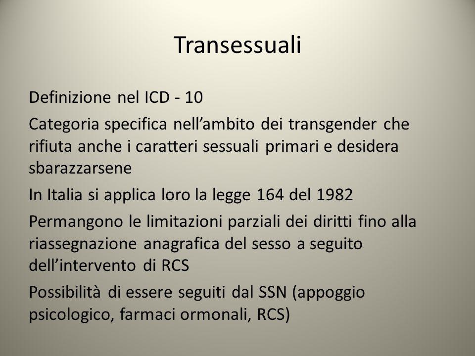 Transessuali Definizione nel ICD - 10 Categoria specifica nell'ambito dei transgender che rifiuta anche i caratteri sessuali primari e desidera sbaraz