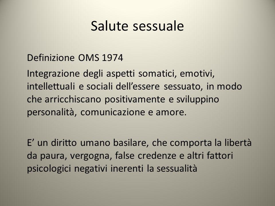 Salute sessuale Definizione OMS 1974 Integrazione degli aspetti somatici, emotivi, intellettuali e sociali dell'essere sessuato, in modo che arricchis