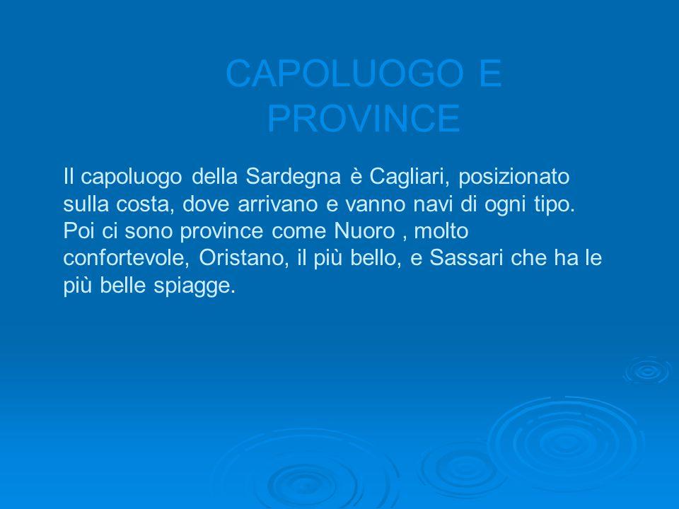 CAPOLUOGO E PROVINCE Il capoluogo della Sardegna è Cagliari, posizionato sulla costa, dove arrivano e vanno navi di ogni tipo.