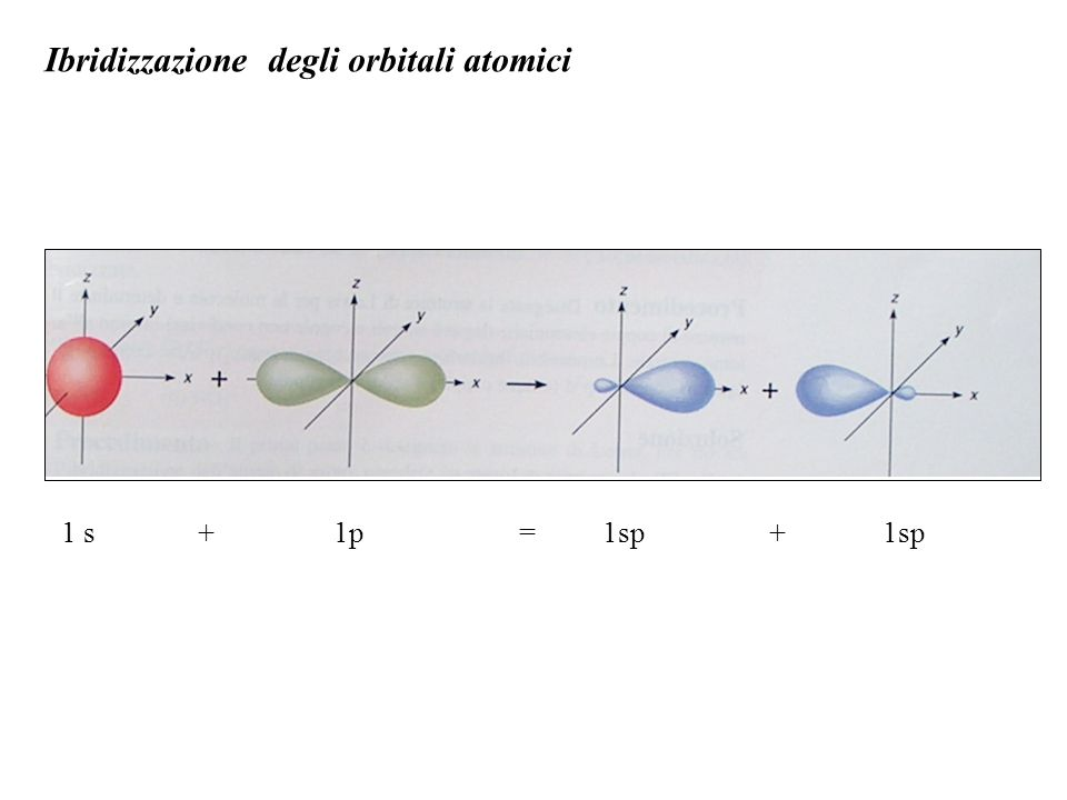 Ibridizzazione degli orbitali atomici 1 s + 1p = 1sp + 1sp