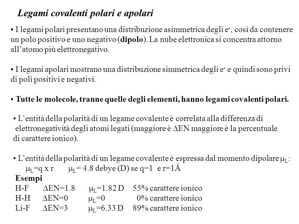 Legami covalenti polari e apolari I legami polari presentano una distribuzione asimmetrica degli e -, così da contenere un polo positivo e uno negativo (dipolo).