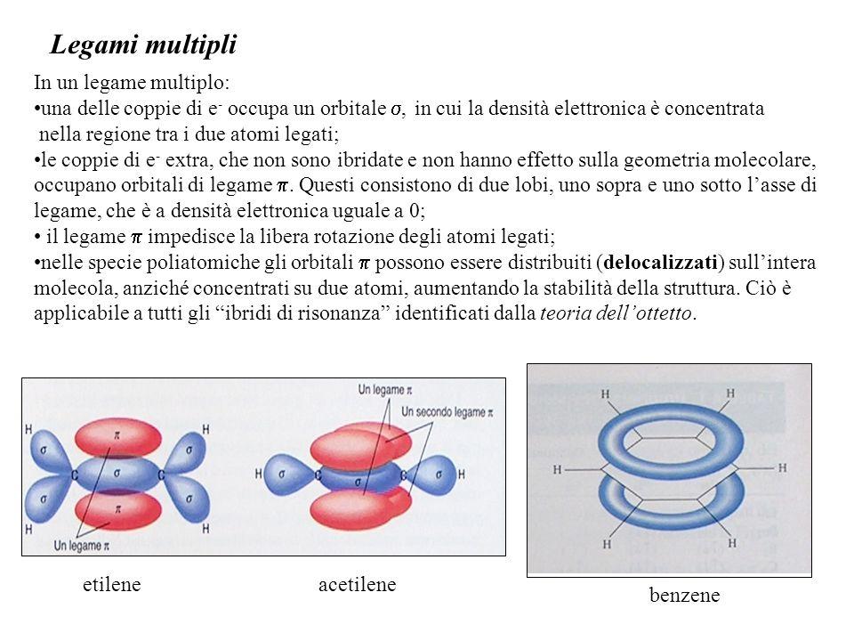Legami multipli In un legame multiplo: una delle coppie di e - occupa un orbitale , in cui la densità elettronica è concentrata nella regione tra i due atomi legati; le coppie di e - extra, che non sono ibridate e non hanno effetto sulla geometria molecolare, occupano orbitali di legame .