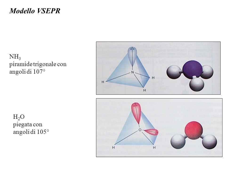 Modello VSEPR NH 3 piramide trigonale con angoli di 107° H 2 O piegata con angoli di 105°