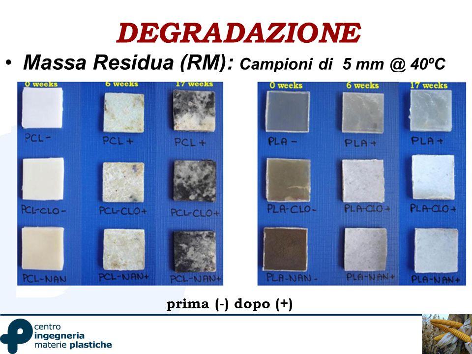 DEGRADAZIONE Massa Residua (RM): Campioni di 5 mm @ 40ºC prima (-) dopo (+)