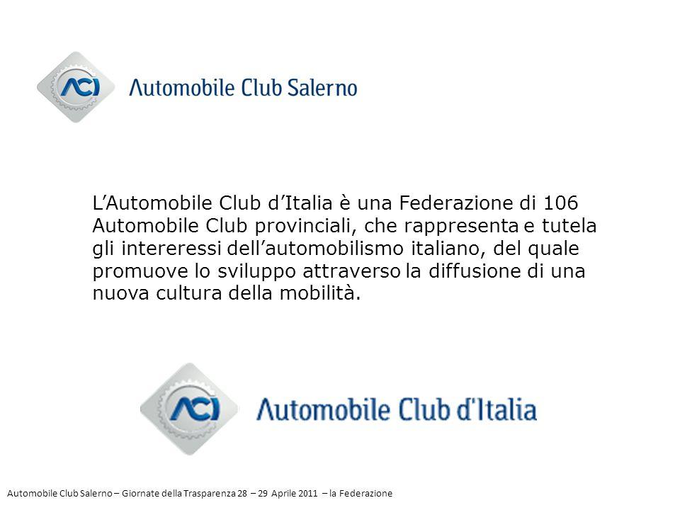 L'Automobile Club d'Italia è una Federazione di 106 Automobile Club provinciali, che rappresenta e tutela gli intereressi dell'automobilismo italiano,